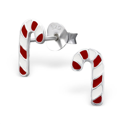 Sterling Silver Candy Canes Ears Studs