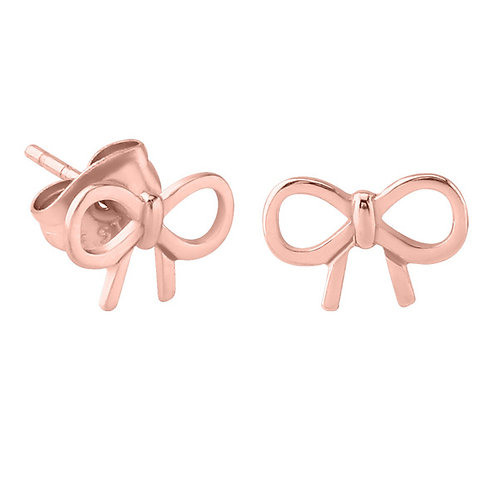 Rose Gold on Steel Bow Ear Studs