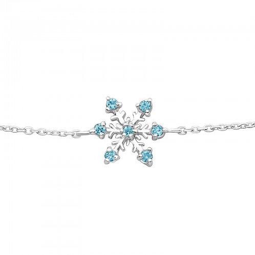 Aqua Cubic Zirconia Snowflake Bracelet