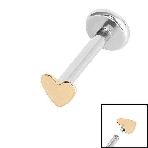 Zircon  Steel Heart with  Titanium Internally Threaded Labrets 1.2