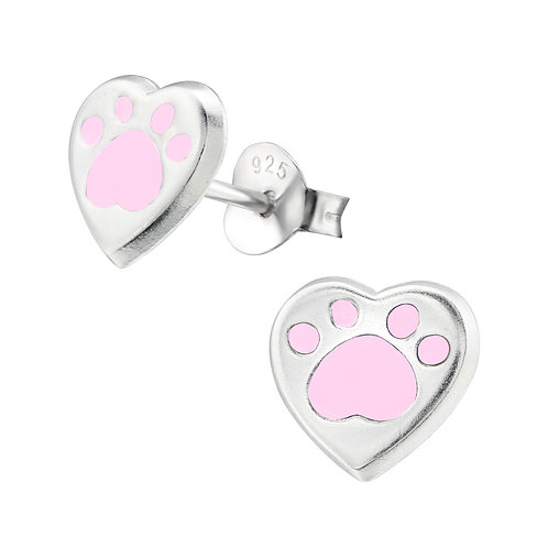 Sterling Silver Heart with  Pink Paw Print ear studs