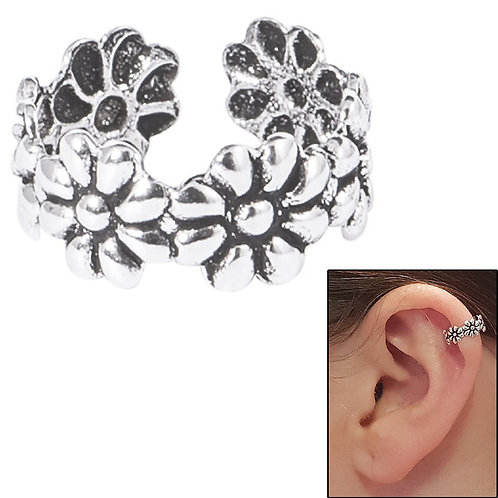 925 Sterling Silver Daisy Clip on Ear Cuff