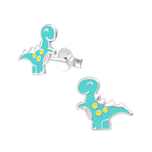 Light Blue Dinosaur Sterling Silver Ear Studs