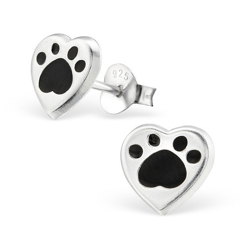 Sterling Silver Heart with  Paw Print ear studs