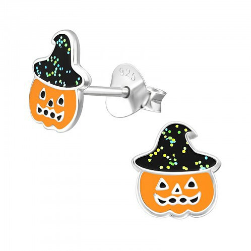 Pumpkin in  Glitter Witches hats Sterling silver ear studs