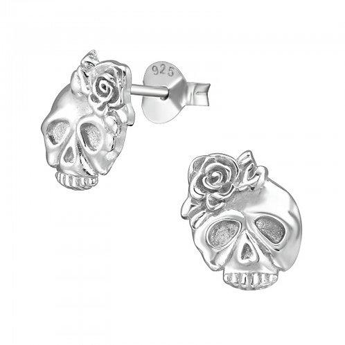 Rose Skull Sterling Sliver Ear Studs