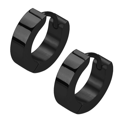 Pair of Black Steel Huggy Ear Ring 1mm x 9