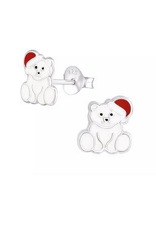 Polar Bear  Sterling Silver Ear Studs