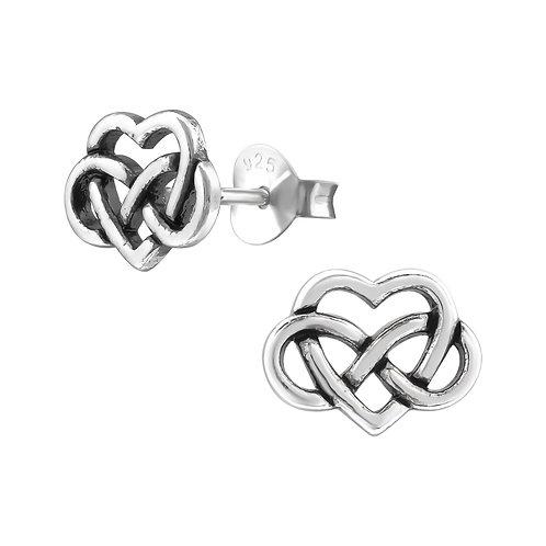 Celtic Heart Sterling Silver Ear Studs