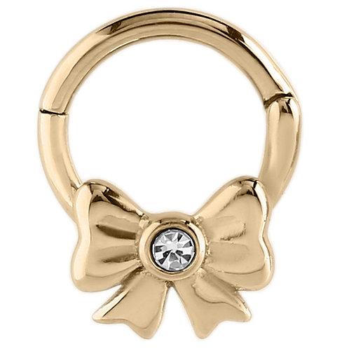 Zircon Steel Jewelled Bow Hinged Segment Ring