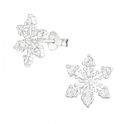 Snowflake with Crystal Cubic Zirconia Sterling Silver Ear Studs