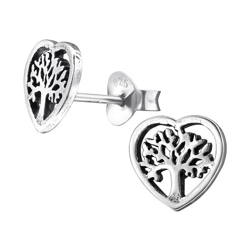 Tree of Life Silver Ear Studs