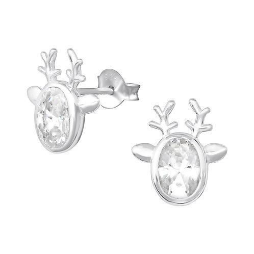 Cute Crystal Reindeer Sterling Silver Ears Studs