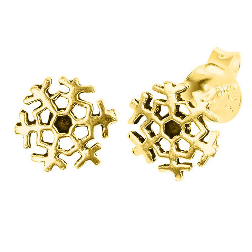 Gold Plated Sterling Silver Snowflake  Ears Studs