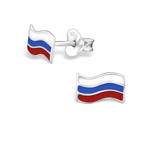 Colourful  Russian  Flag Sterling Sliver Ear Studs