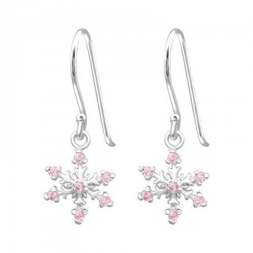 Pink Snowflake Sterling SilverHook Earrings