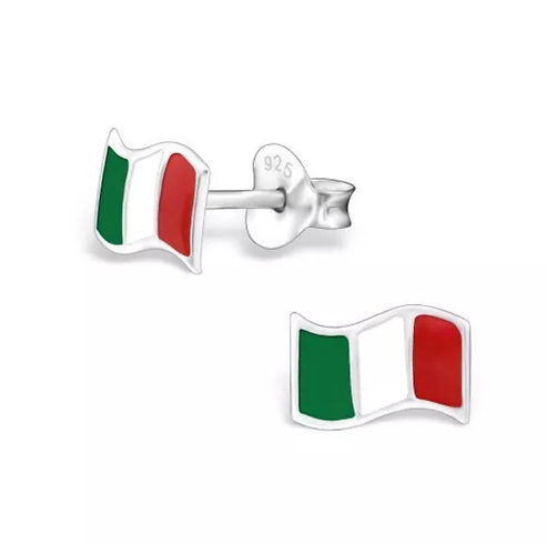 Colourful  Italian   Flag Sterling Sliver Ear Studs