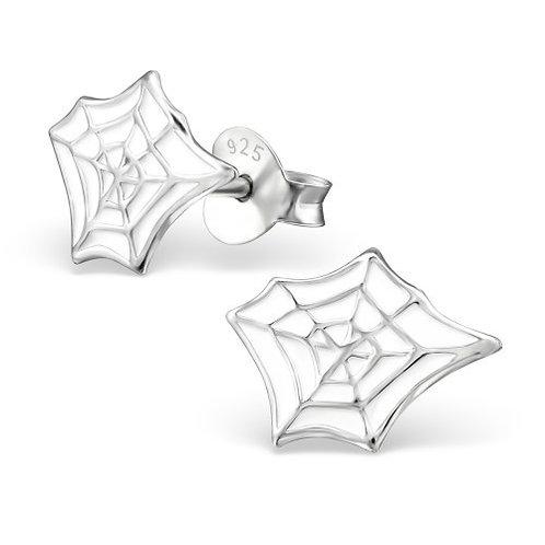 White Spider web Ear Studs