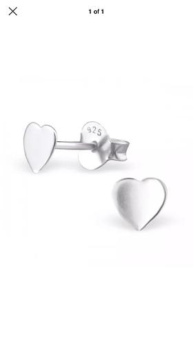 Flat Heart Sterling Sliver ear studs