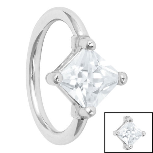 Claw set  Jewelled  Diamond  Square Cartilage Ring