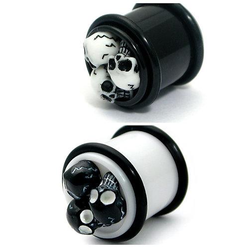 3 Skulls Acrylic  Plugs