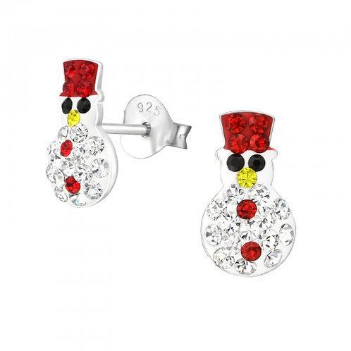Crystal Snowman  Ears Studs