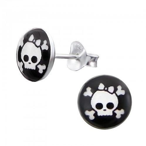 Skull and crossbones  Sterling Sliver Ear Studs