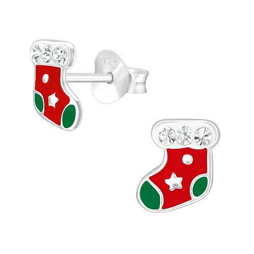 Colourful Crystal Christmas Stockings Ear Studs