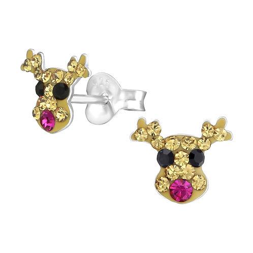 Crystal  Fuchsia Nosed Reindeer Christmas Ear Studs