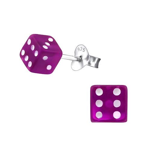 Purple Dice  Sterling Silver Ear Studs