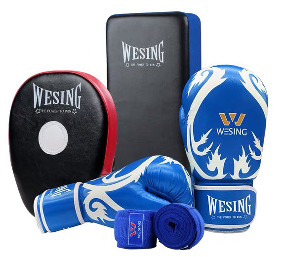 Wesing Sanda Kickboxing Blue Gloves Hand