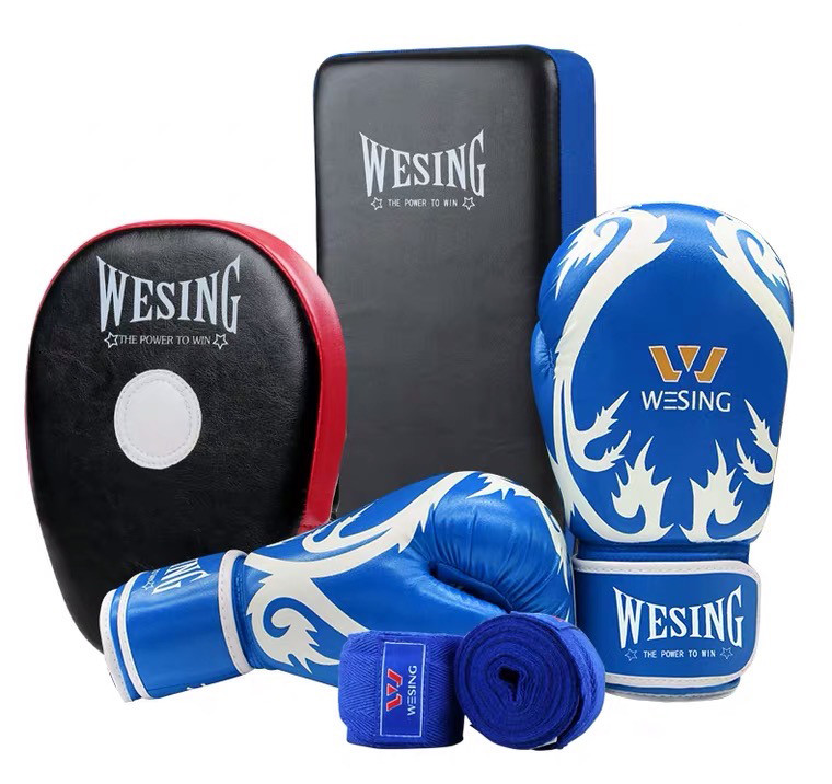 Wesing Sanda Kickboxing Blue Gloves Hand