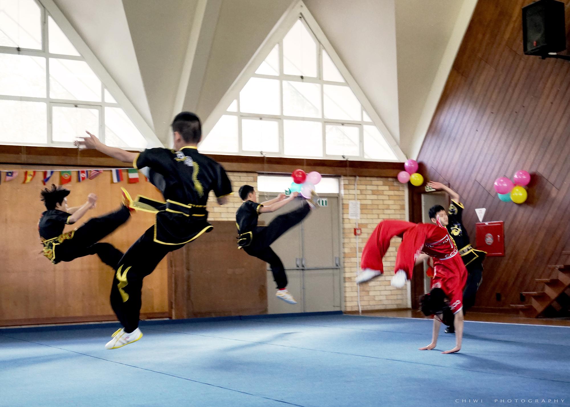 NZ Wushu performance jump back handspring