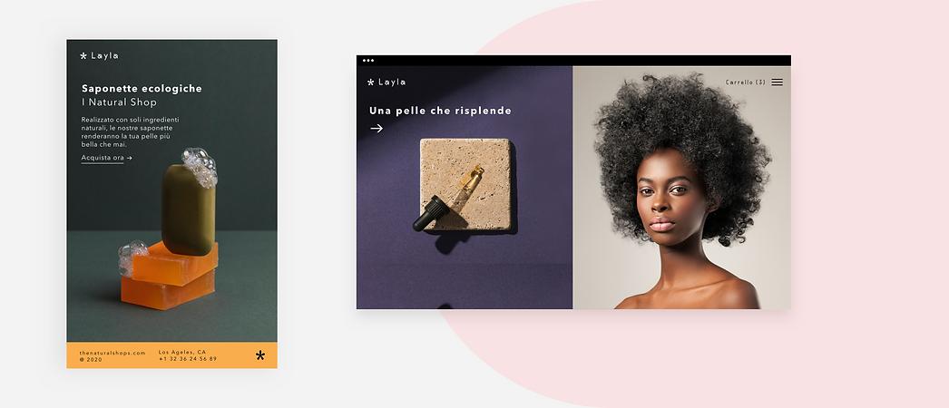 La home page del sito web di un brand di bellezza che mostra i loro prodotti.