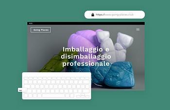 Un sito per l'imballaggio che mostra funzionalità integrate come la creazione di ruoli e autorizzazioni per i membri del team, hosting sicuro e alt text per immagini che rendono i contenuti accessibili a tutti.