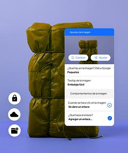 Un sitio web de empaquetado que muestra las funciones incorporadas que te permiten crear Roles y Permisos para los miembros de tu equipo y alt text en las imágenes para que tu contenido sea accesible para todos.