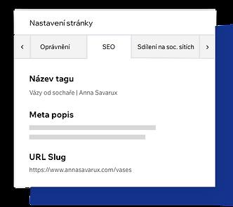 Nastavení SEO stránky, přizpůsobení meta tagů stránky