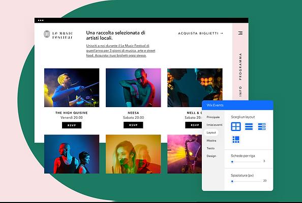 Un sito web creato per un festival della musica su Wix che mostra eventi, ecommerce, funzionalità per dispositivi mobili e blog.