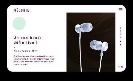 Site web eCommerce pour un casque audio de qualité, en vue mobile.