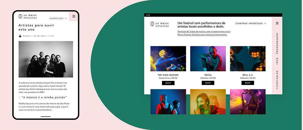 Um site de festival de música criado no Wix e mostrando as funcionalidades de eventos, eCommerce, mobile e blog.