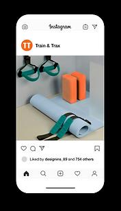 휴대폰에 표시되는 피트니스 브랜드의 Instagram페이지