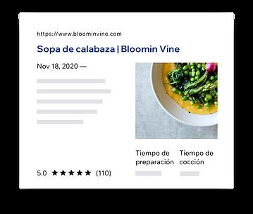 Resultados de las SERP para la receta de sopa de calabaza.
