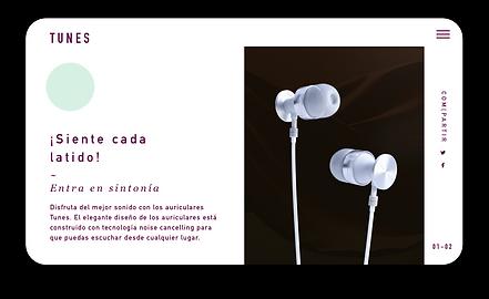 Sitio web de eCommerce para auriculares de alta gama mostrados en una tableta.