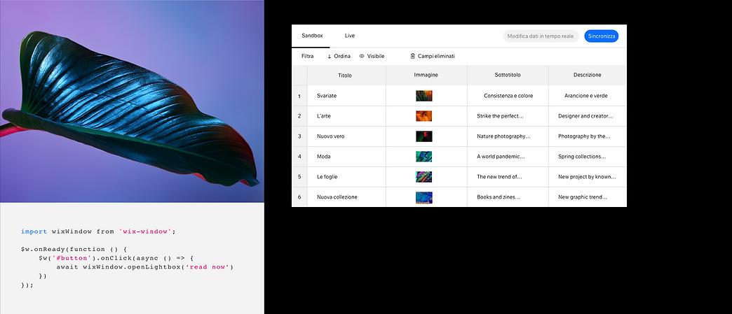 Il back-end del sito web di un magazine che usa la tecnologia di Velo, inclusi i database, per creare più pagine e usare codice personalizzato.