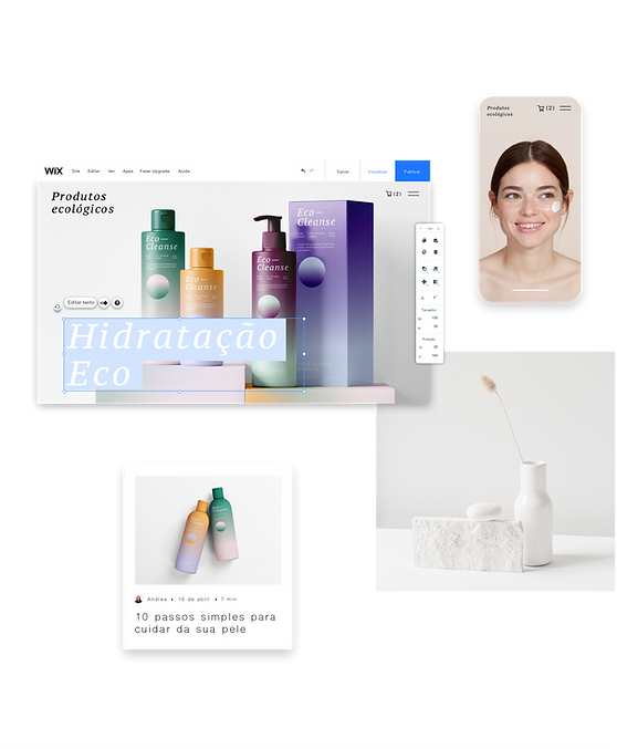 Um site de uma marca de cosméticos e cuidados com a pele sendo editado no Wix Editor. Também inclui uma linha de produtos de cuidado com a pele.
