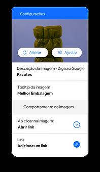 Configurações de imagem que permitem criar funções e permissões para membros da equipe e alt text para imagens, que tornam seu conteúdo acessível para todos.