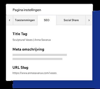 SEO-pagina instellingen, aanpasbare pagina metatags