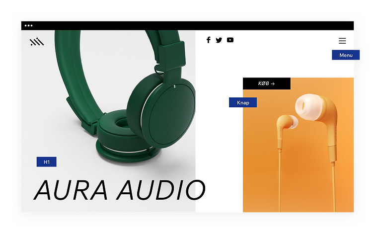 Hjemmeside til hovedtelefoner