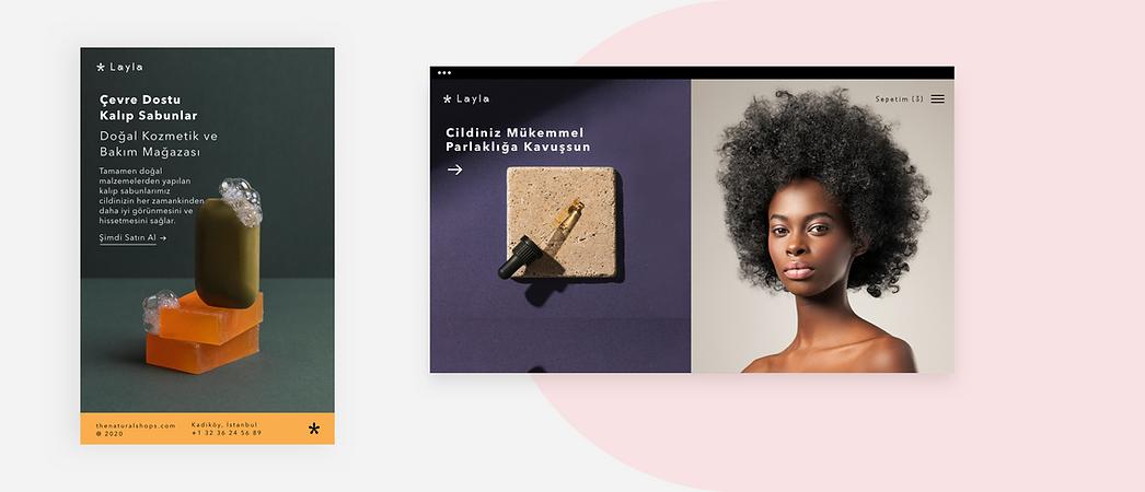 Ürünlerini sergileyen bir güzellik markası web sitesi ana sayfası.