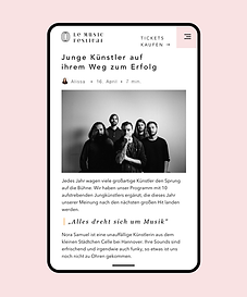 A website created for a music festival on Wix showcasing events, eCommerce, mobile and blo